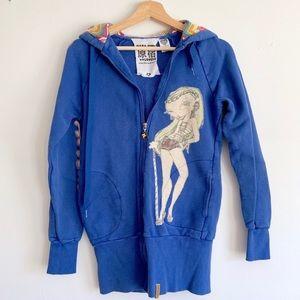 Harajuku Lovers Gwen Long Zip Hoodie In Blue